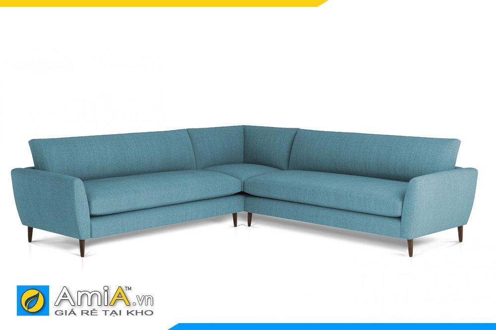Sofa vải nỉ màu xanh navy kiểu dáng chữ V chân cao trẻ trung, hiện đại