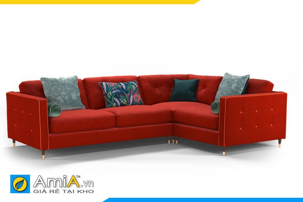 Bộ sofa vải nỉ màu đỏ bã trầu, tựa lưng rút khuy có thể tháo rời, đệm rời
