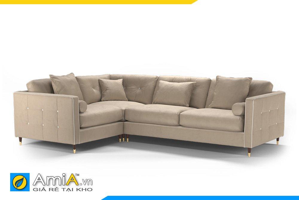 Sofa màu ghi sáng quây góc kiểu dáng chữ L chân ghế cao hiện đại, tựa lưng, đệm rời