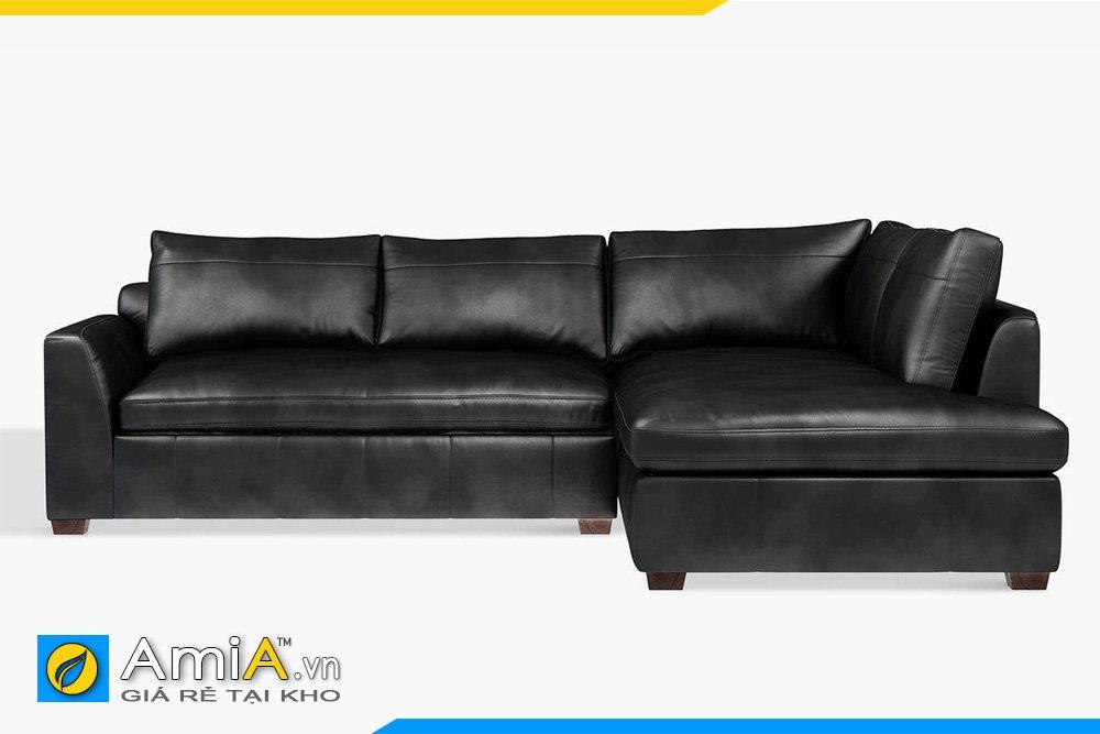 Bộ sofa góc da AmiA 20049 màu đen