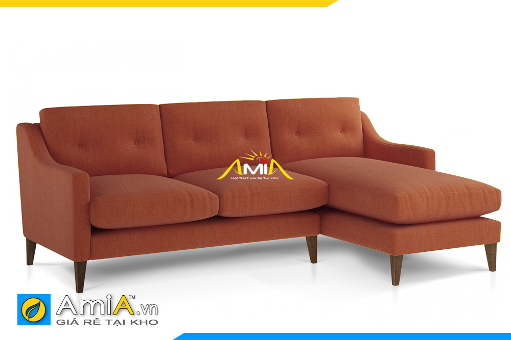 Sofa nỉ màu nâu kiểu dáng góc chữ L
