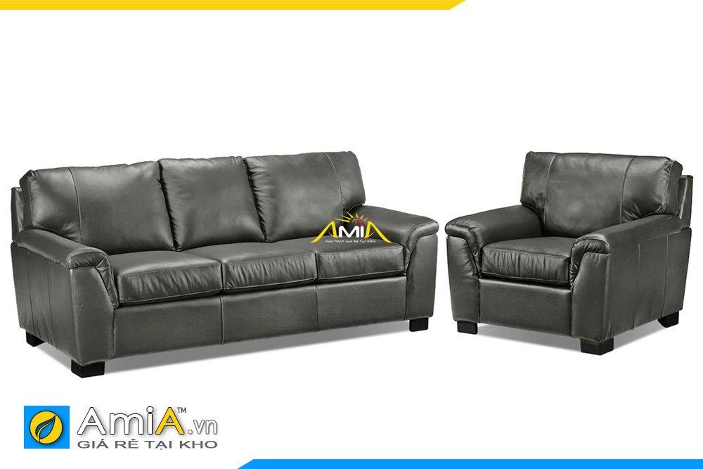 Bộ sofa 1 văng dài và 1 ghế đơn màu ghi đen sang trọng