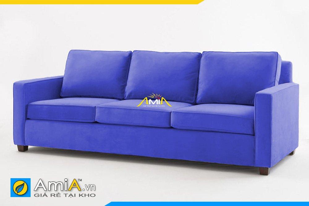 Mẫu sofa văng 3 chỗ ngồi màu xanh chất liệu nỉ