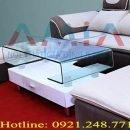 Hình ảnh cho mẫu sản phẩm bàn trà kính đẹp được phối hợp với bộ ghế sofa hiện đại