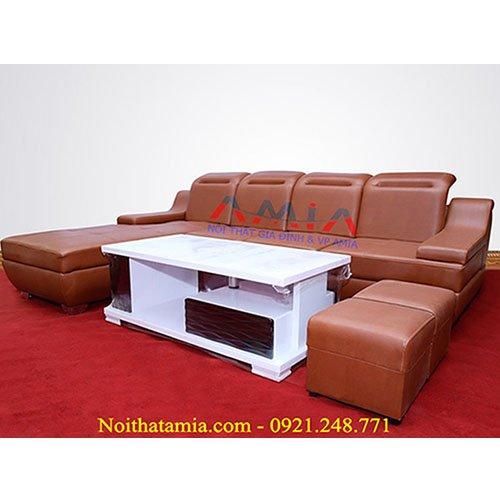 Hinh anh dai dien bo sofa phong khach mau da nau AmiA SFD035