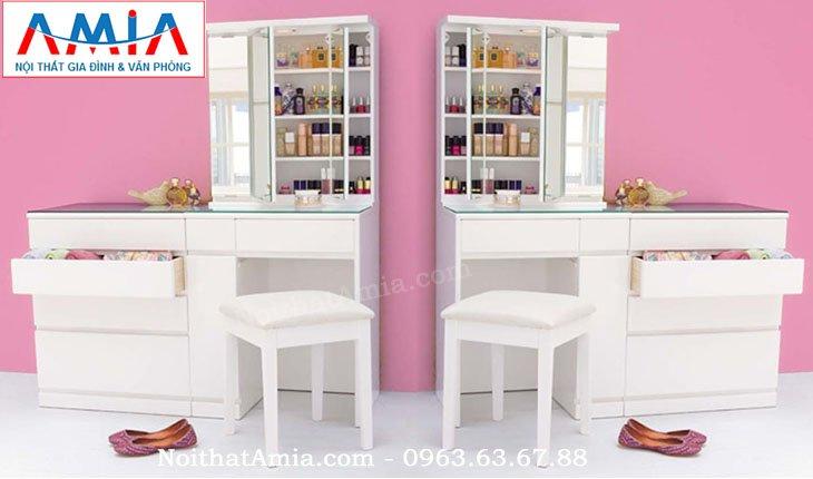 Hình ảnh cho mẫu bàn phấn, bàn trang điểm màu trắng nhỏ gọn cho không gian phòng ngủ đẹp
