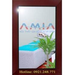 gương soi để bàn được thiết kế đẹp với bản khung gỗ màu nâu sang trọng