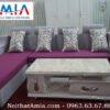 Hinh anh mau ban tra sofa go mat da de inox BTR 138