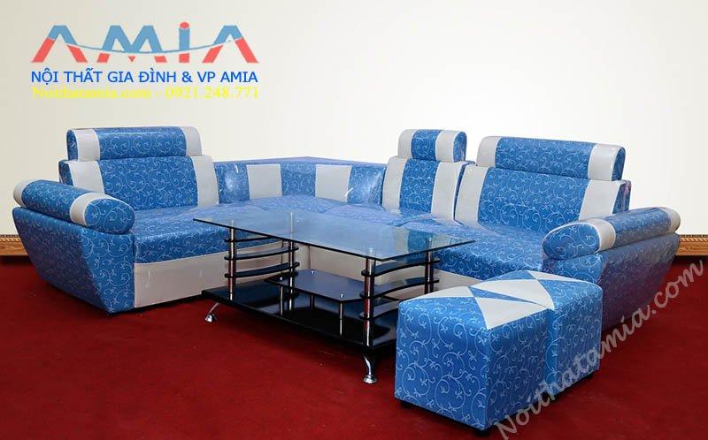 Hinh anh mau sofa da gia re mau xanh hoa tiet dep SFD 025