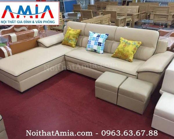 Hinh anh mau sofa da phong khach vien den sang trong AmiA